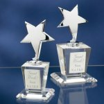 Chrome Stars with Crystal Bases Crystal Glass Awards