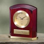 Piano Finish Wood & Brass Desk Clocks