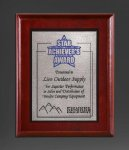 Cherry Finish Panel; Silver Tone Plate Employee Awards
