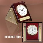 Reversible Clock Thermometer Wood Metal Accent Awards